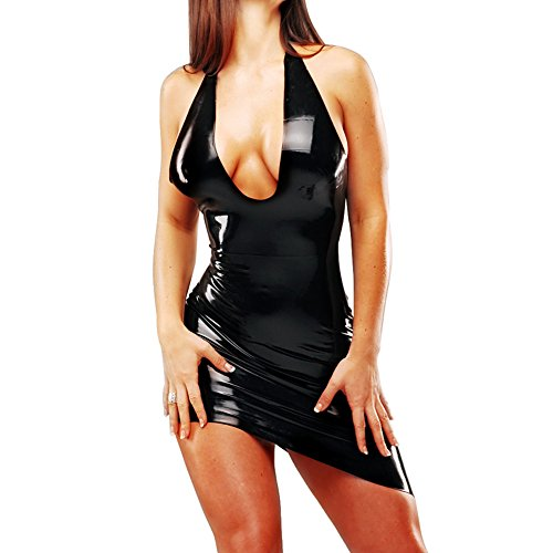 Kostüme Halloween Sexie (EXLATEX Damen Latex Halfterneck Kurzes Kleid mit Open Back)