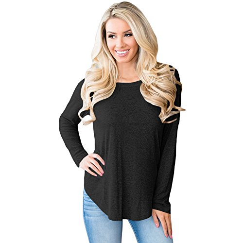 MEI&S Grande taille femme Baggy Tricot col rond Top Pull chandail tricoté de cavalier Black
