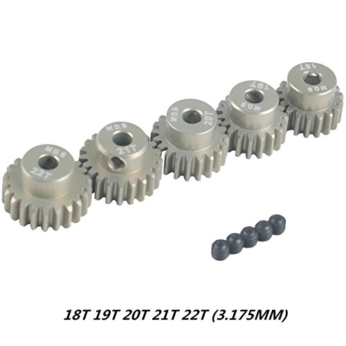 Crazepony-UK M0.6 3.175mm 18T 19T 20T 21T 22T 0.6 Module Pinion Motor Gear for 1/8 1/10 RC Off-Road Buggy Monster Truck Brushed Brushless Motor