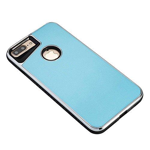 EKINHUI Case Cover Abnehmbarer Dual-Layer-Shockproof-Rückseiten-Gehäuse Flexibler TPU-Innenschutz und verstärkter PC-Abdeckungs-Fall für iPhone 7 Plus ( Color : Rosegold ) Blue