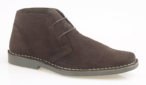 Roamers Square Toe 2 Eye Mens Desert Boots Dark Brown -