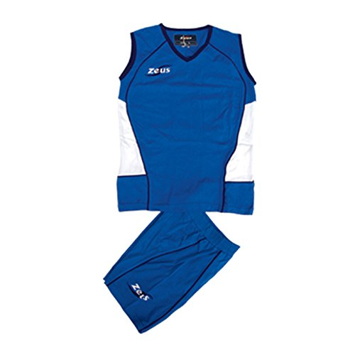Zeus Damen Volleyball Trikot Hose Shirt Indoor Handball Training Ausbildung KIT MARGÒ ROYAL WEISS BLAU (S)