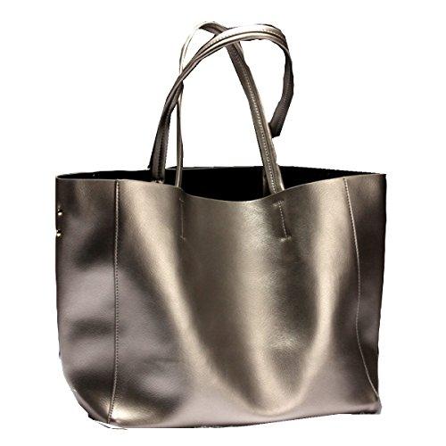 Yy.f Neue Lederhandtaschen Große Taschen Große Kapazität Portable Schulter Umhängetasche Freizeit Weiches Leder Einfach. Multicolor Black