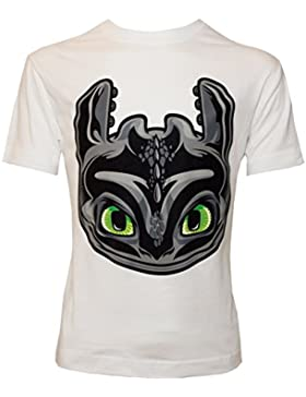 Dreamworks Dragons Kinder T-Shirt Toothless Ohnezahn Kopf, weiß