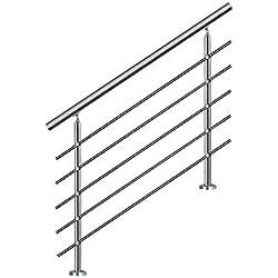 HENGMEI 120cm Rampe d'escalier Main courante murale Garde-corps en acier inoxydable Baguettes terrasse Kit Escaliers pour les escaliers et marches, 5 poteaux