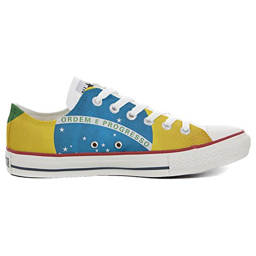Converse All Star Low Customized Unisex personalisierte Schuhe (Handwerk Schuhe) Slim Brasilien TG38 (Schuhe Brasilien)