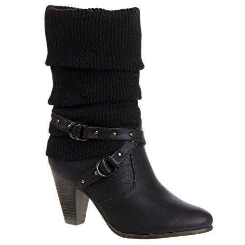 Schwarz Leder Damen Nieten-heels (Klassische Damen Stiefel High Heels Stiefeletten Wadenhohe Stulpen Boots Trichterabsatz 292 (39, Schwarz))