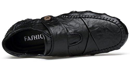 Forucreate Homme Chaussures de Ville Chaussures de Conduite en Cuir Noir