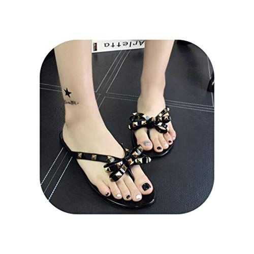 Women Rivets Bowknot Flat Slippers Girls Flip Flops Summer Shoes Cool Beach Jelly Shoes