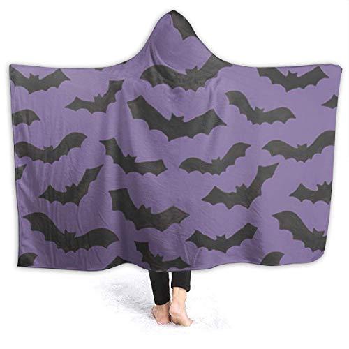 XXWK Kuscheldecken Überwürfe Decken Hooded Throw Blanket Fleece Blanket Bat Pattern Lightweight Faux Fur Wearable Throw Blanket Super Soft Cozy Microfiber Blanket for Adult and Kid