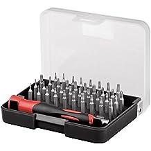 Fixpoint 77276 Set Professionale Cacciavite con Punte di Precisione 39 Pezzi, Rosso - T3 T4 Adattatore