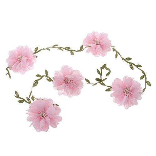 MagiDeal Rose Garland Künstliche Rose Vine mit Blättern Blumen Girlande für Hochzeit Dekor - Rosa Tüll