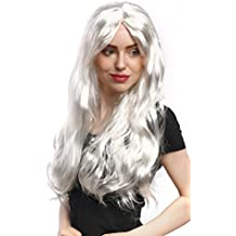 WIG ME UP ® - 90924-ZA68 Peluca señoras Carnaval Halloween largo liso rubio blanco ángel Reina de la Nieve