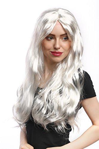 Wig me up ® - 90924-za68 parrucca donna carnevale halloween lunga liscia bianco biondo argento angelo regina delle nevi