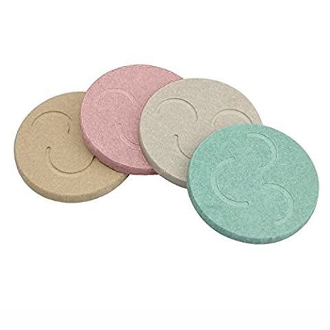 Cup Mat, ESEOE Pack of 4 Diatomite Colorful Coasters Powerful Water Absorption to Protect Your Furniture Essential for House Bar