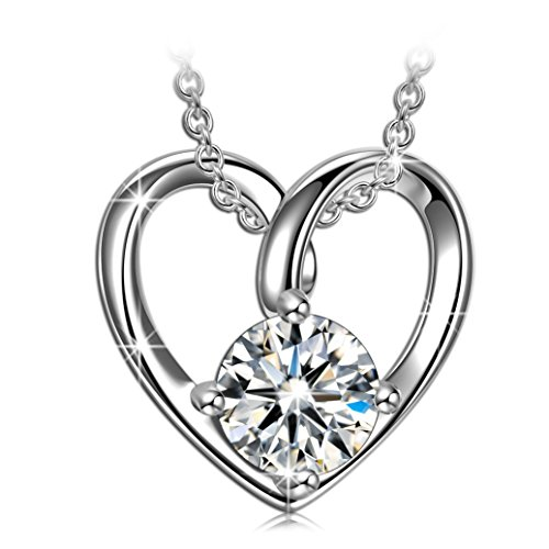ANGEL NINA Love Heart 925 Sterling Silver Sparkling 5A Cubic Zirconia, Pendant Necklace for Women, Elegant Jewellery Gift Box, Nickel Free Passed SGS Test 18+2 Extender