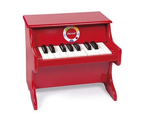Janod - Confetti, Piano de juguete de madera, rojo (J07622)