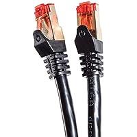 Duronic - Cavo di rete Ethernet schermato CAT6a FTP, colore: Nero 100 Metri Connettori RJ45 placcati oro 24k, alta velocità 500MHz Cat6 / Patch / Ethernet / Modem / Router /
