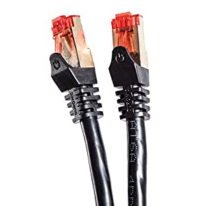Duronic Black 5m CAT6a FTP Professional Gold Headed Shielded Network Cable - High Speed 500MHz Premium Quality Cat6a / Patch / Ethernet / Modem / Router / LAN
