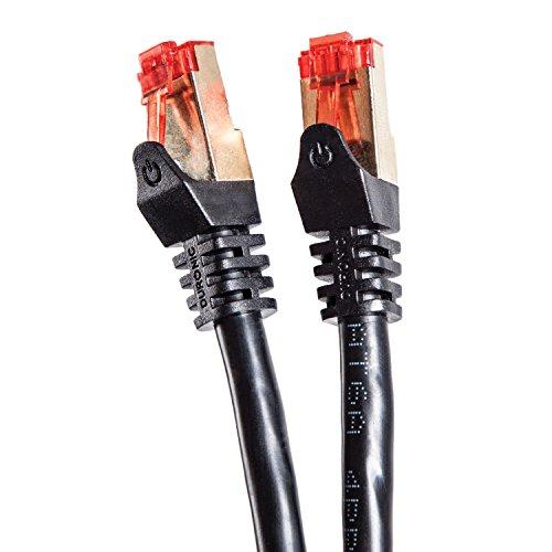 Duronic - Cavo di rete Ethernet schermato CAT6a FTP, colore: Nero 1.5 Metri Connettori RJ45 placcati oro 24k, alta velocità 500MHz