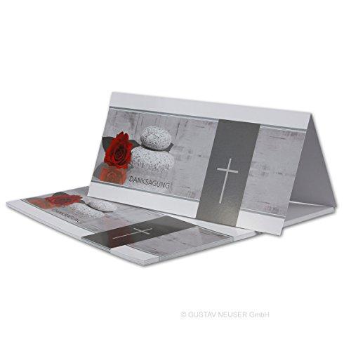 25 Stück Danksagungs-Trauerkarte Serie: Mathilde // Hochglanz // DIN Lang 21 x 19,8 cm (21 x 9,9 cm) // Doppelkarte - Faltkarte