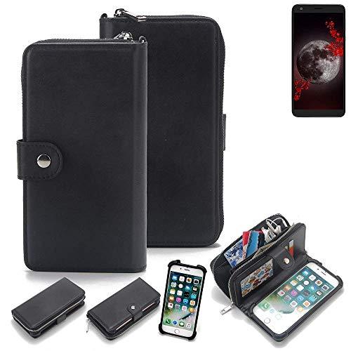 K-S-Trade 2in1 Handyhülle für Sharp Aquos B10 Schutzhülle und Portemonnee Schutzhülle Tasche Handytasche Case Etui Geldbörse Wallet Bookstyle Hülle schwarz (1x)