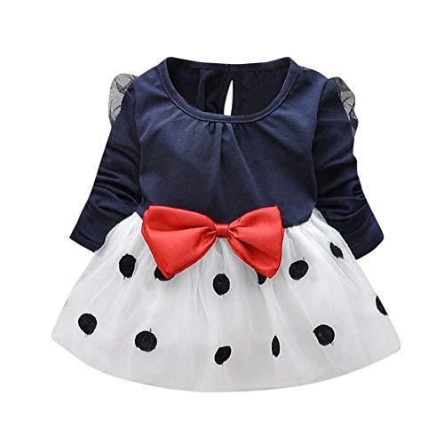 CUTUDE Kleinkind Baby Mädchen Punkt Bowknot Falten Tüll Langarm Kleider Party Täglich Prinzessin Kleid Outfit Kleidung