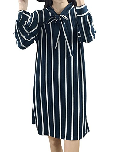 sourcingmap Femme Manches Longues Cravate Cou Rayures Robe Droite Bleu