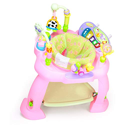 JUN GUANG Multifunktionaler Springstuhl Music Jumping Happy Park Fitness-Rack Bouncer Swing Chair Baby-Fitnessstudio,Pink (Swing Bouncer Und Baby)