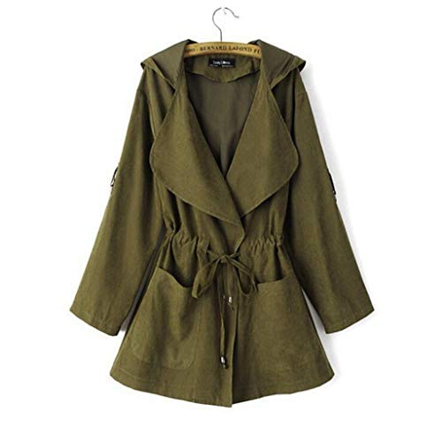 Blansdi Damen Leicht Mantel Herbst Trenchcoat mit Wasserfallkragen Kordel Tasche Locker Knielang...