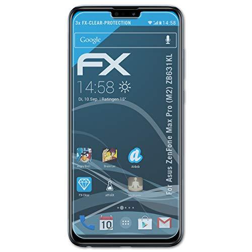 atFolix Schutzfolie kompatibel mit Asus ZenFone Max Pro (M2) ZB631KL Folie, ultraklare FX Bildschirmschutzfolie (3X)