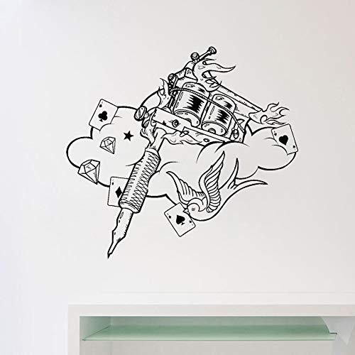Tattoo Maschine Wandtattoo Tattoo Studio Poster Vinyl Aufkleber Wohnkultur Ideen Zimmer Innenarchitektur Wandkunst Salon Dekorieren 45x42 c -