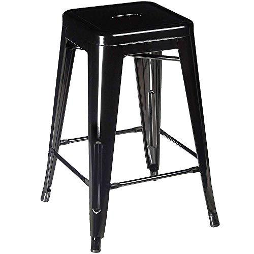 Rückenfreies Küche Hocker (Kimmyer Hochwertige 24-Zoll-rückenfreie quadratische Gegenhöhe Metallhocker, Hocker Küche Gegenhöhe, Innen-, Außen- und mehr Metall Barhocker Stuhl)