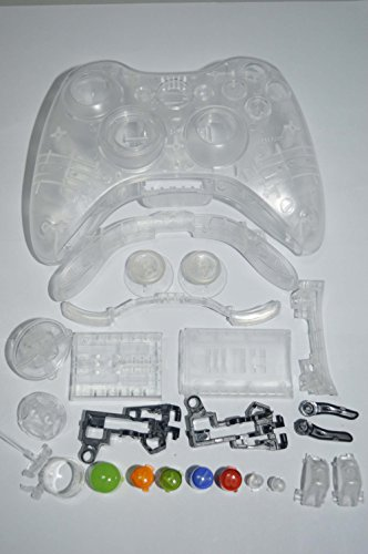 Gotor Full Housing Shell Cover and Buttons Thumbsticks Ersatz for Xbox 360 Wireless Controller Transparent Weiß (360-controller Xbox Und Shell)