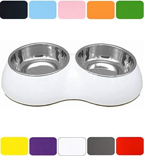DDOXX Doppel Fressnapf in vielen Farben & Größen für kleine & große Hunde Katzen | Futternapf Katze klein | Hundenapf Hund groß | Katzennapf Edelstahl | Melamin-Napf | Weiß, 2 x 700 ml -