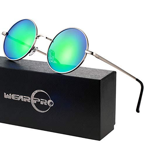wearpro Runde Sonnenbrille Herren Damen Runde Polarisiert Sonnenbrille Herren Damen Retro Vintage Sonnenbrille für Herren Damen Unisex 3013 (blue, 2.05) (Grün)