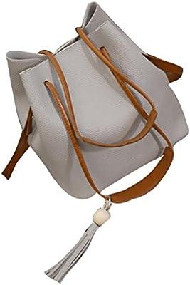 Tongshi Moda mujer borlas de cuero solo saco de hombro bolso + embrague