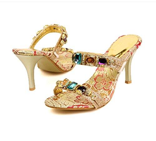 WZG Europäischen und amerikanischen Luxus sexy Sommer Temperament Schuhe doppelte Farbe Diamantkette mit hochhackigen Sandalen und Pantoffeln mit neuen feinen Gold