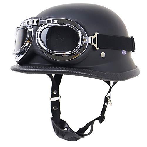 Halber Motorradhelm, Vintage Harley Helme mit Brille geeignet für Männer und Frauen Harley Motorradhelm Bike Cruiser Scooter, DOT/ECE-Zulassung -