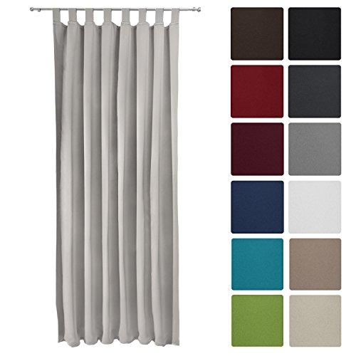 Preisvergleich Produktbild Beautissu® Blackout-Vorhang Amelie mit Schlaufen - 140x245 cm Grau - Verdunklungsgardine Schlaufenschal Blickdicht
