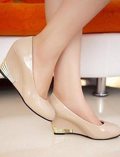 WSS 2016 chaussures pour femmes simples brevet ol cuir talon compensé confort / bureau de talons à bout rond&carrière noir / rouge / blanc / red-us8 / eu39 / uk6 / cn39