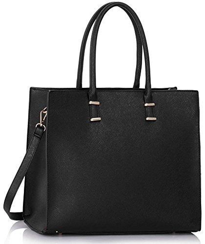 LeahWard® Damen X GroßModeDesigner Berühmtheit Tragetaschen Damen Qualität Schnell verkaufend Modisch Handtaschen CWS00319B CWS00319C CWS00319 (CWS00319 Schwarz)