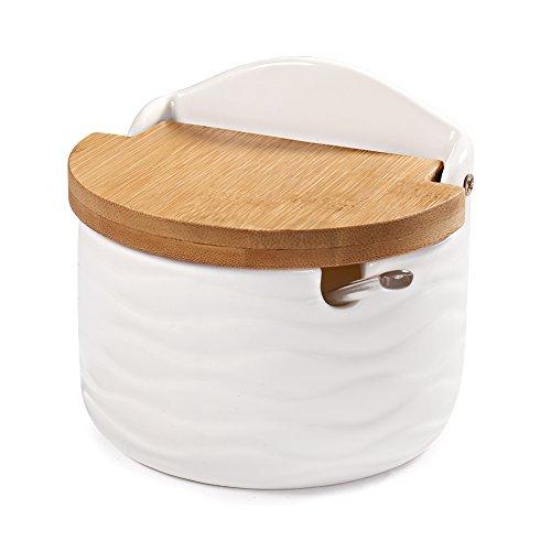 Zuckerdose, 77L Keramik Zucker Schüssel mit Löffel und Deckel aus Bambus für Zuhause und Küche - Modernes Design, Weiß, 254 ML (8.58 FL OZ)