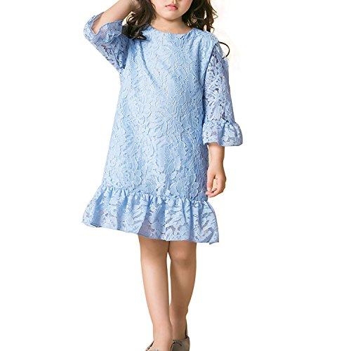 Mädchen Kleider Spitze Kind Kleid mit Hülse Weiches Baumwollfutter Lotus Blatt zum Party Hochzeit Beiläufig (10-11 Jahre, Blau) (Die Kleine Meerjungfrau Kostüm Kleid)