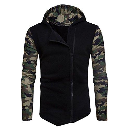 Herren Mantel,Honestyi Herren Winter Camouflage Zipper Kapuzenpullover Kapuzenpulli Jacke Bekleidung Mantel (XS, Schwarz)