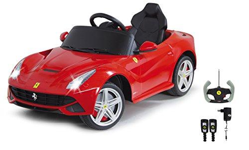 ferrari kinderauto Jamara 404765 - Ride-on Ferrari F12 Berlinetta rot 27Mhz 6V – Kinderauto, leistungsstarker Motor / Akku, bis 90 Min. Fahrzeit, Ultra-Gripp Gummiring am Antriebsrad, Bremse, 2-Gang, Sound, Licht