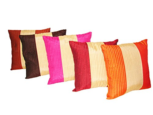 Home Shine cushion cover in three stripes quilting 16''Xx16'' Multicolor 5 pc set