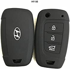 Silicone Key Cover for New Hyundai Verna (Please Check Second Image) Only for Flip Key (White On Black) Sold by H & S Designer Studio