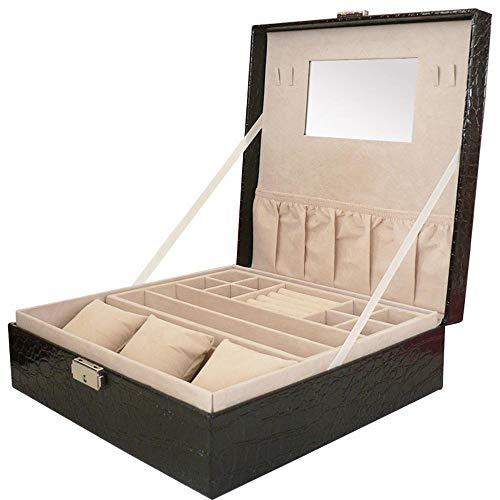 Littlefairy doppia coccodrillo modello leather jewelry storage box 26.5 * 26.5 * 8.5 cm