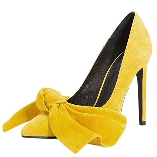 Oasap Damen Spitz Party Wildleder Schleife Pumps Yellow